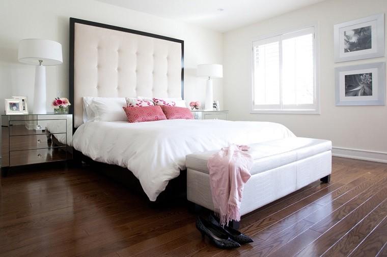dormitorios diseño cojines rosa lamparas
