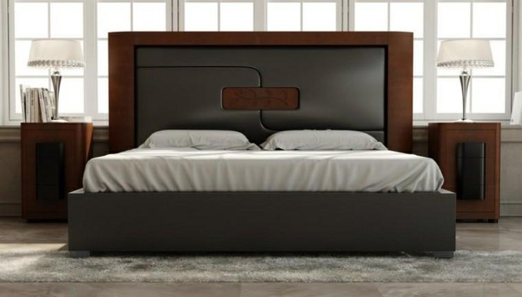 dormitorios diseño madera cuero negro