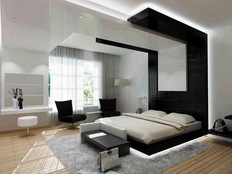 dormitorios diseño oscuro habitacion sillas