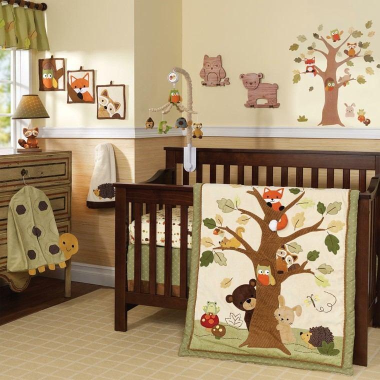 dormitorios infantiles diseño animales arboles bebe