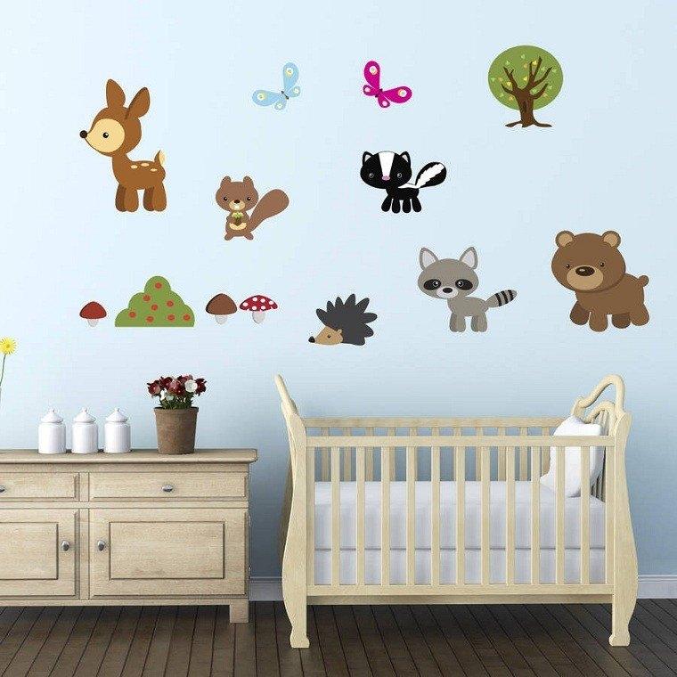dormitorios infantiles diseño animales arboles colorido