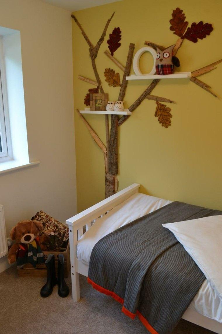 dormitorios infantiles diseño arbol buho amarillo