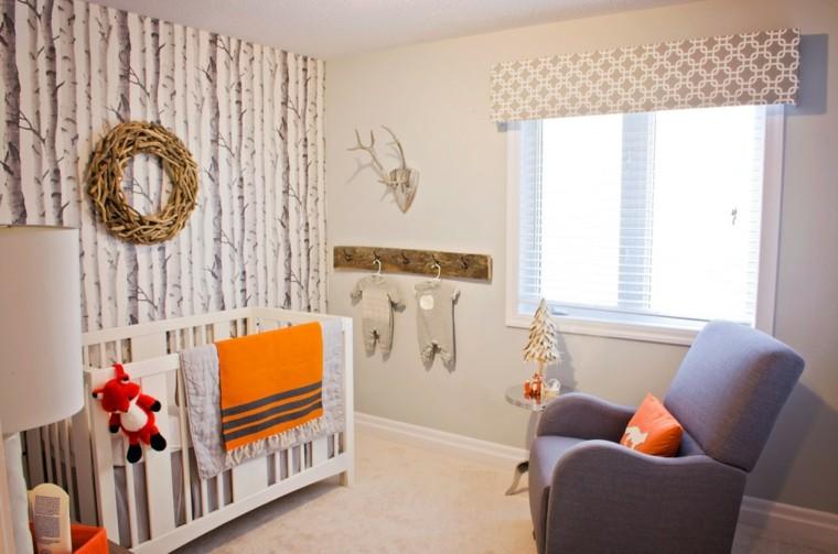 dormitorios infantiles diseño bosque cojin zorro