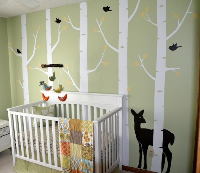 dormitorios infantiles diseño venado negro plantas