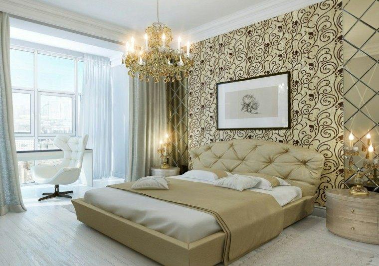 dormitorios lujo cuadro pared dorado