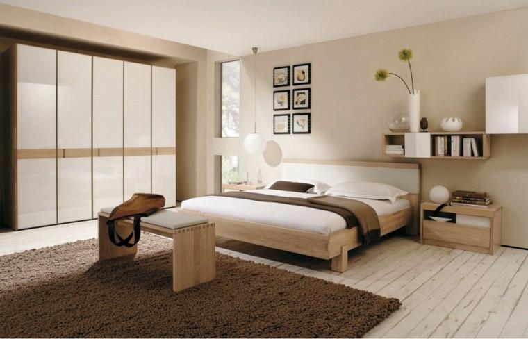 dormitorios minimalista alfombra crema madera