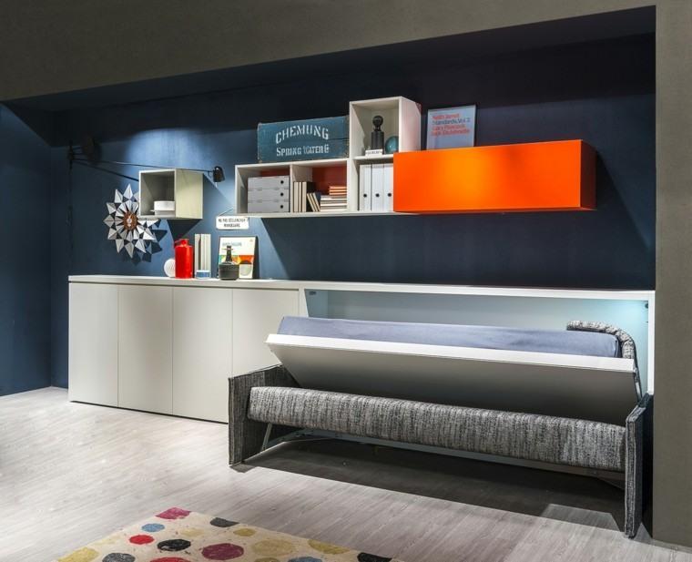 dormitorios modernos pared azul oscuro ideas