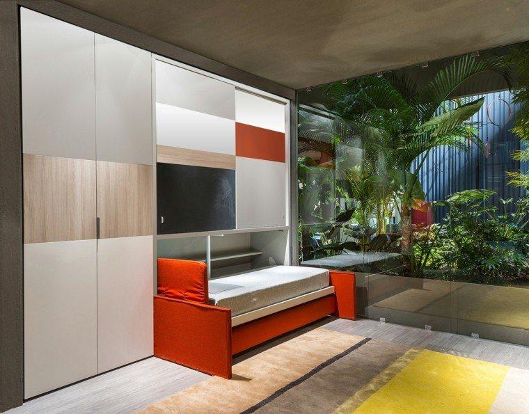 dormitorios modernos pared cristal plantas interesante ideas