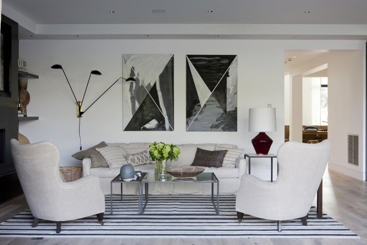 dos cuadros blanco negro abstractos