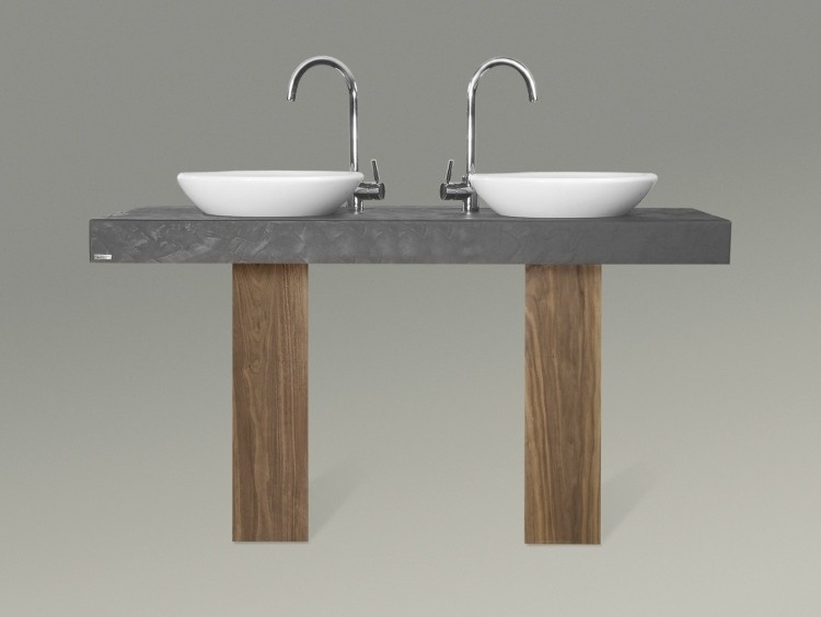 dos lavabos encimera gris madera