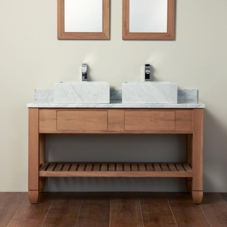 dos lavabos mueble madera marmol