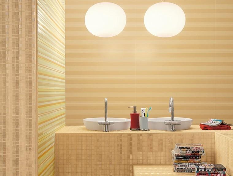 dos lavabos mosaico brillo amarillo