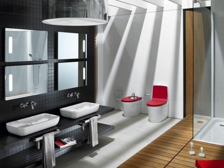 dos lavabos pared negra moderna