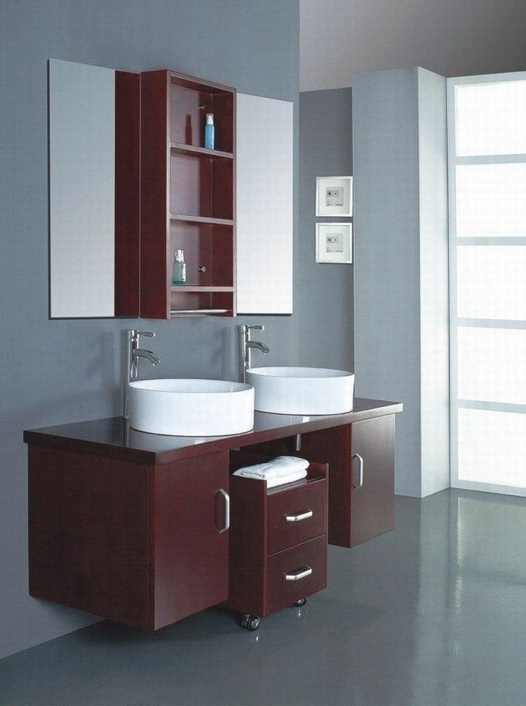 dos lavabos redondos blancos mueble