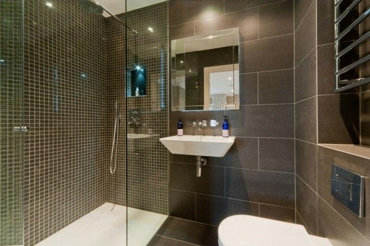 ducha moderna azulejos mosaicos marrones