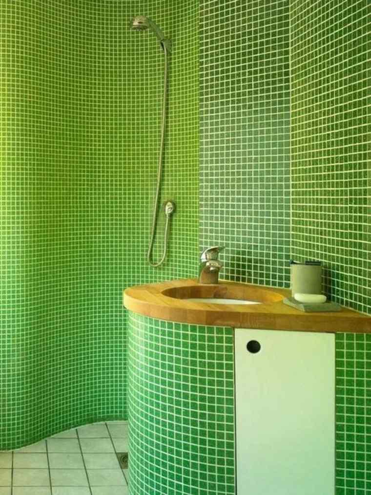 Cabinas De Ducha De Obra:ducha de obra con mosaico de color verde
