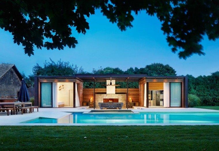 casa diseno piscina mesa bancos madera ideas
