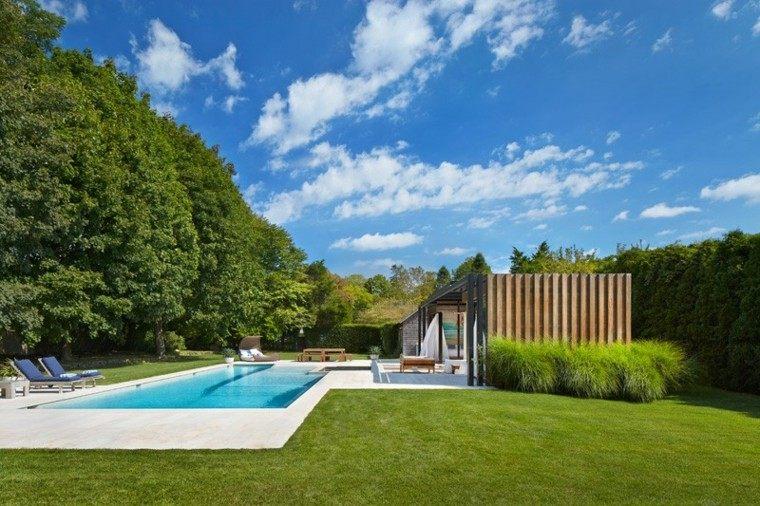 retiro casa piscina tumbonas azul ideas