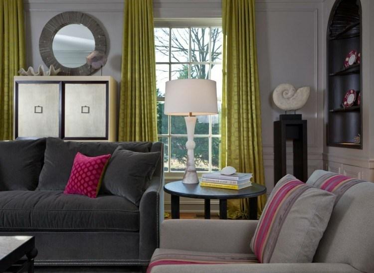 elegante diseño estante espejo cortinas