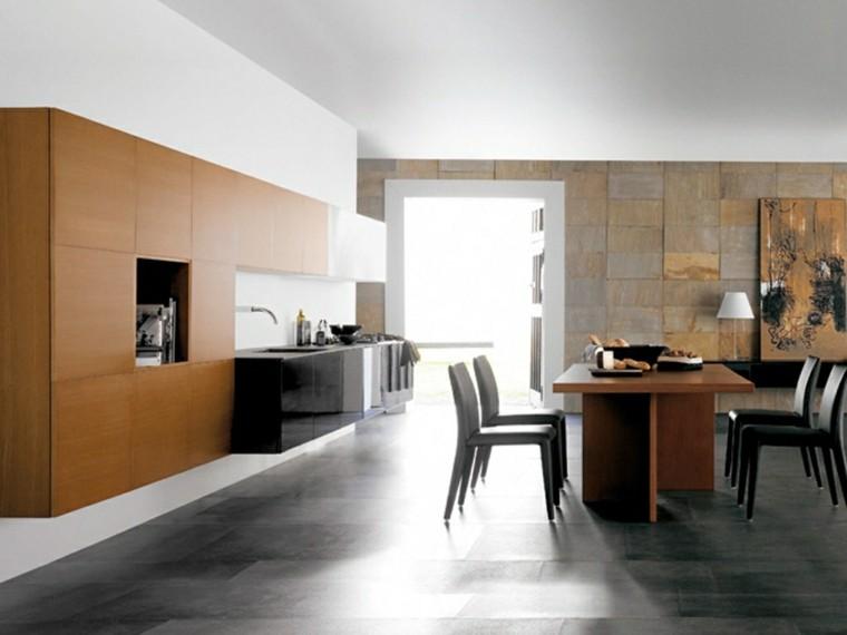 elegante moderna cocina estantes mesa