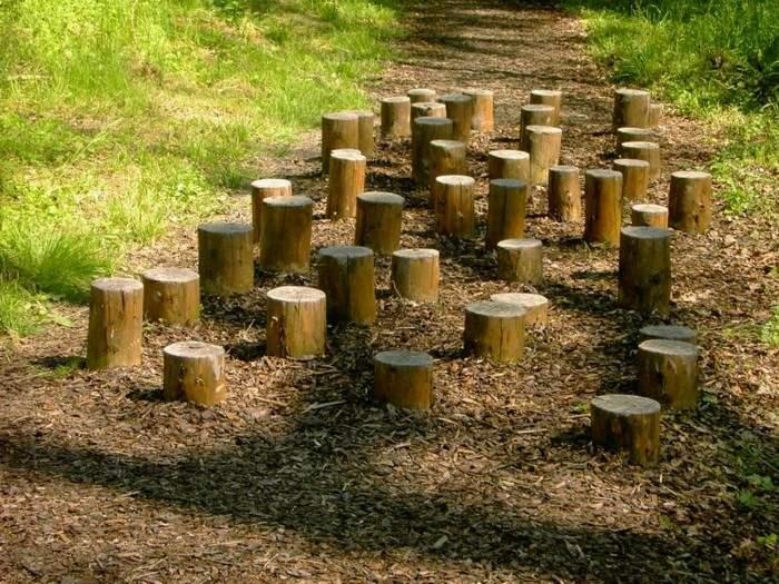 empalizados madera camino deco jardin