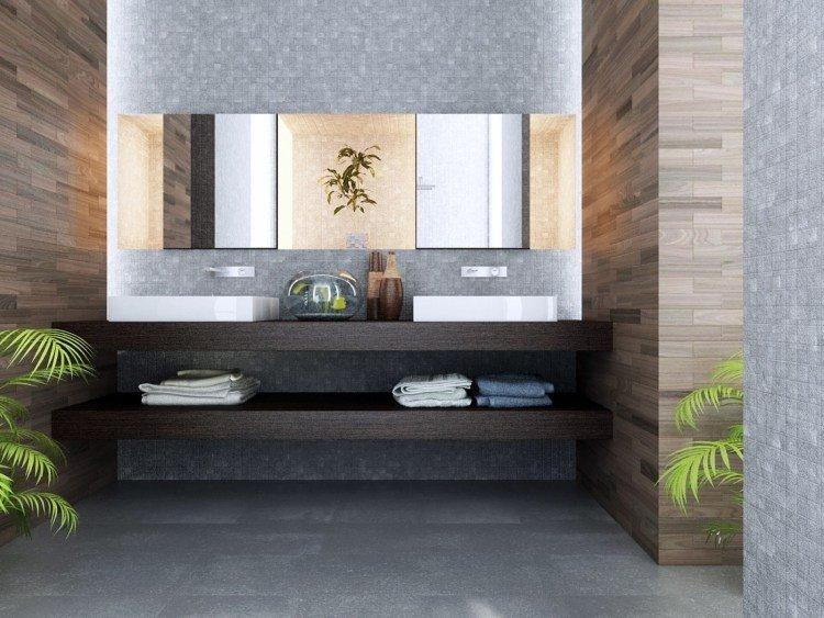 encimera lavabo laminado madera oscura