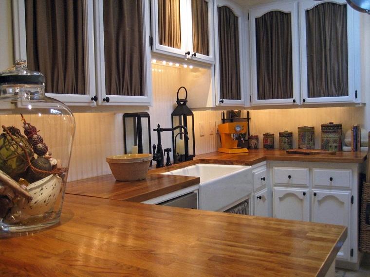 encimera madera cocina cortinas armarios ideas
