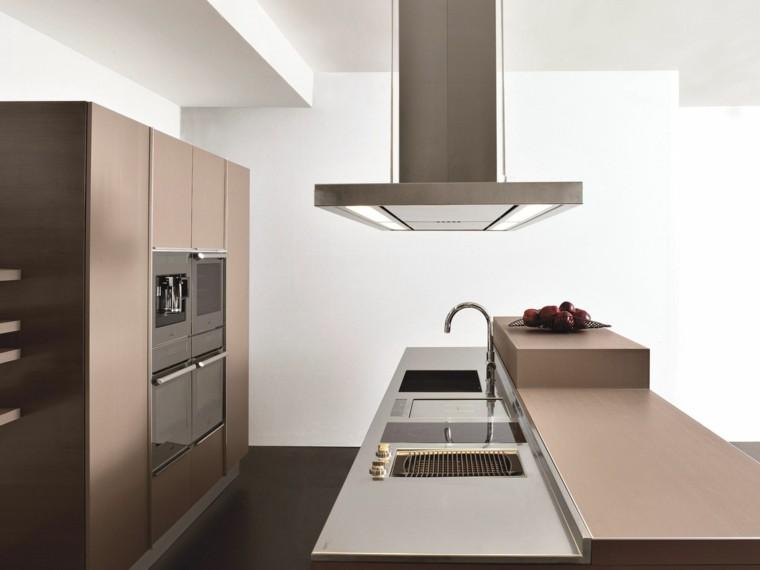 encimera madera isla cocina estilo moderno ideas
