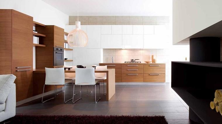 encimera madera sillas blancas cocina moderna ideas