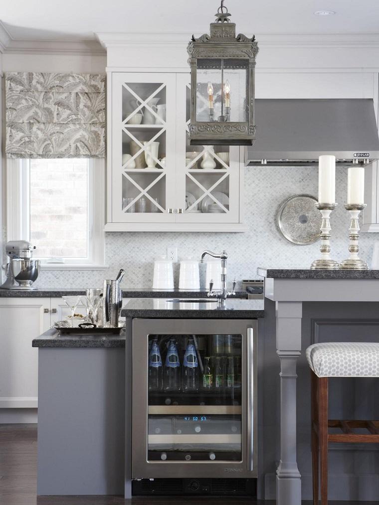 encimeras de cocina granito gris isla frigorifico ideas