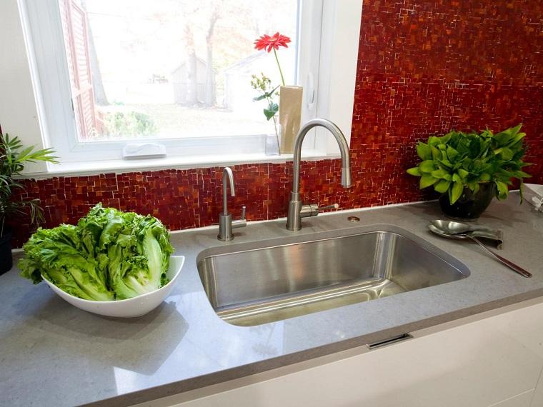 encimeras de cocina granito gris lavabo ideas
