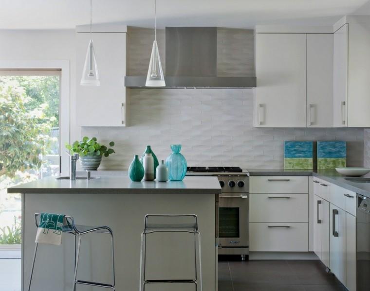 encimeras de cocina granito gris pared blanca ideas