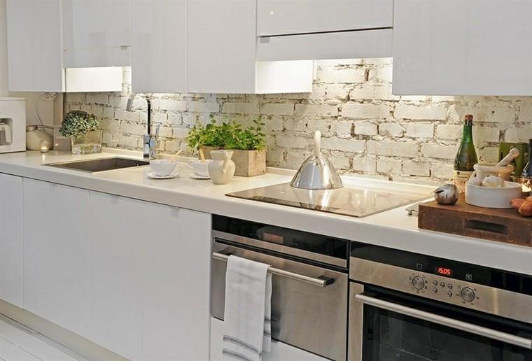 encimeras de cocina granito ladrillo blanco pared isla