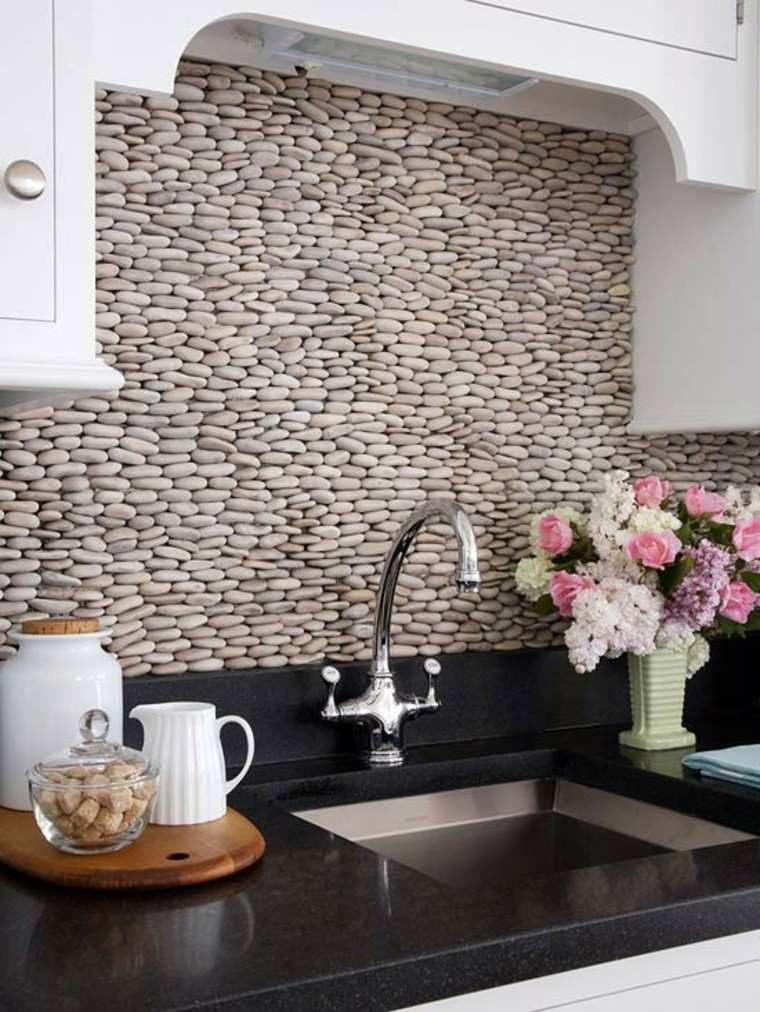 encimeras de cocina granito negro lavabo pared preciosa ideas
