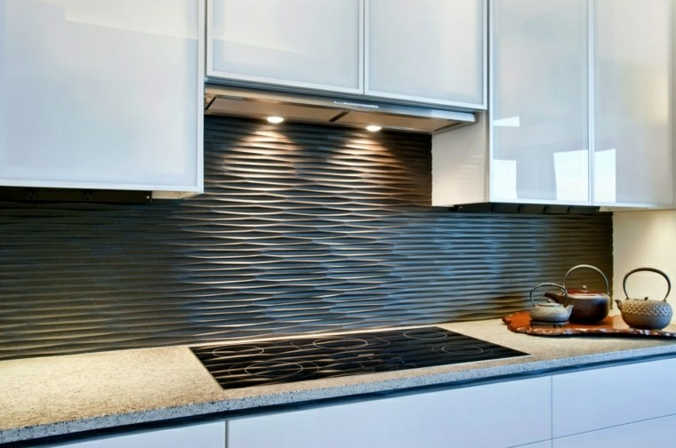 encimeras de cocina granito pared negra ideas