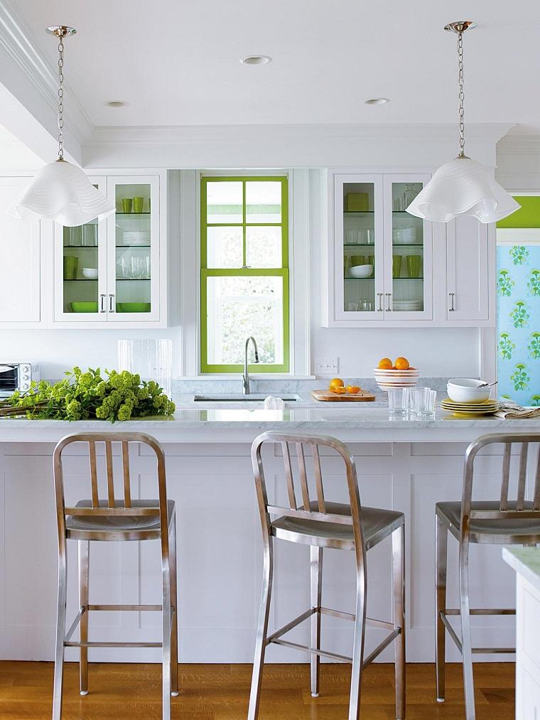 encimeras de cocina granito sillas altas brillantes ideas