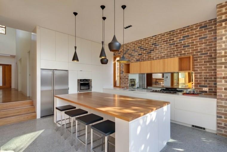 encimeras de cocina madera isla grande pared ladrillo ideas