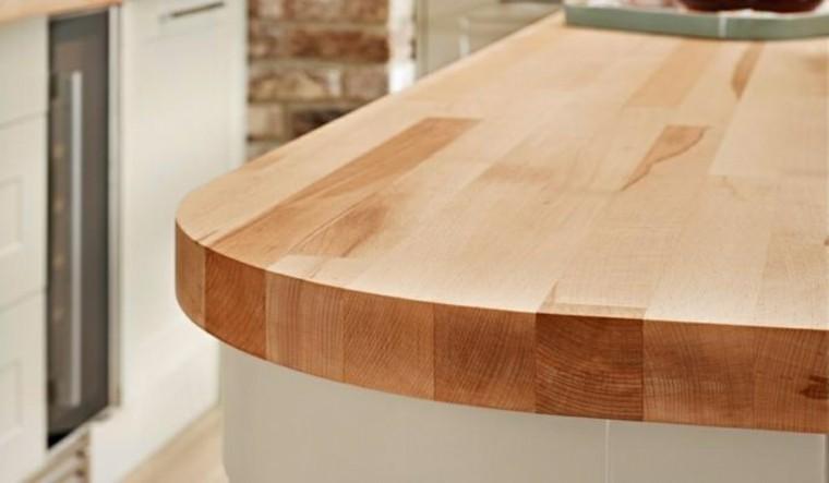 encimeras madera gruesas isla cocina moderna ideas