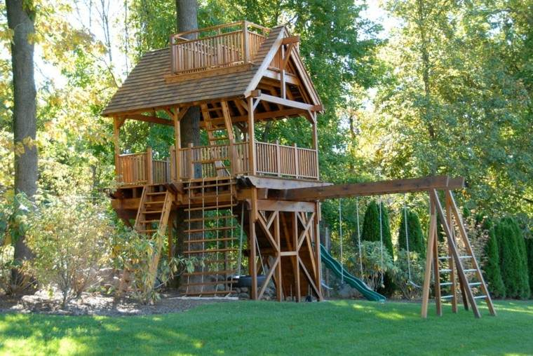enorme casa juegos madera jardn