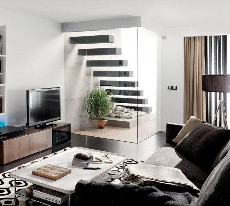 escalera moderna casa mobiliario rocas