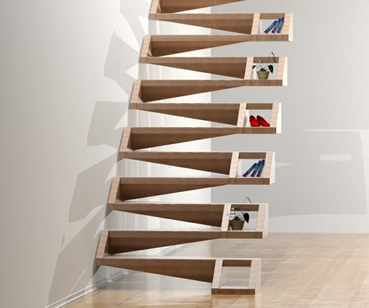 escalera moderna madera accesorio zapatos