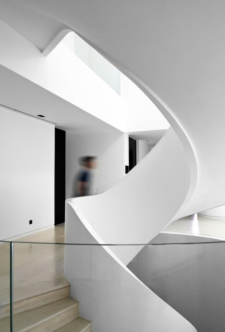 escaleras caracol diseño baranda yeso
