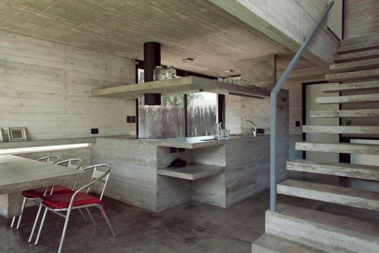 escalones hormigon metal cocina cemento