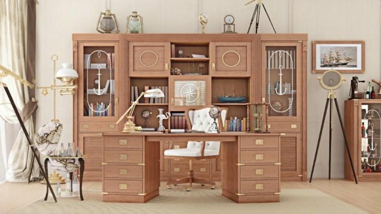 escritorio madera mueble puertas cristal ideas