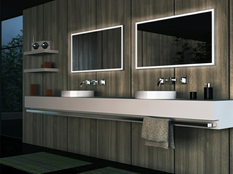 espejos iluminacion madera contorno moderno