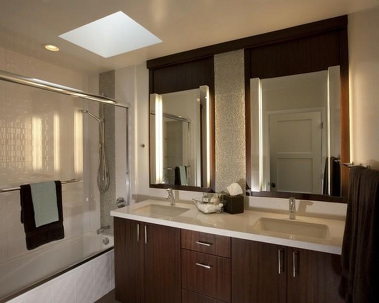 espejos iluminacion marron madera tiras