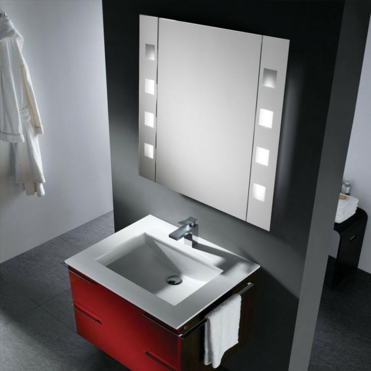 estilo de bao moderno espejos iluminacion mueble rojo moderno