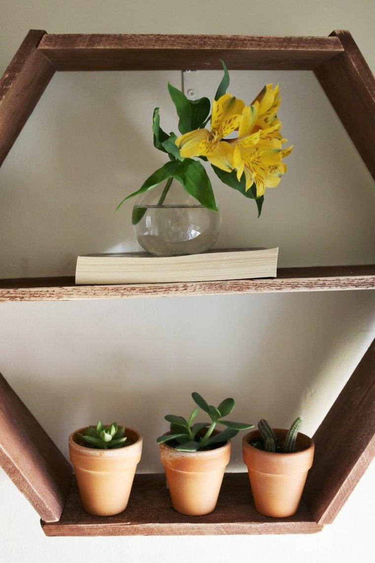 estante diy flor amarilla madera macetas