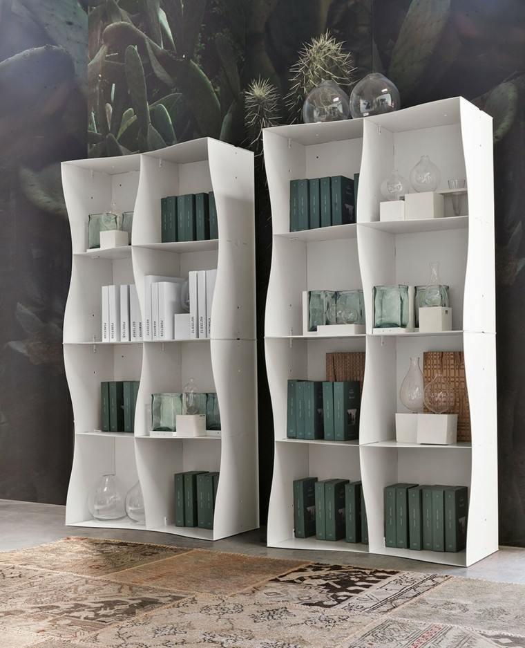 estanterias blancas modernas libros casa ideas