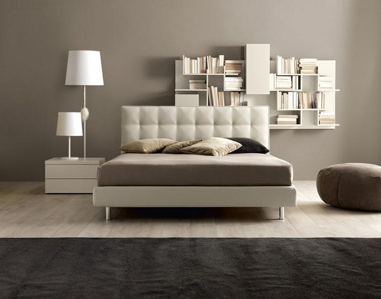 estanterias madera blancas dormitorio moderno ideas